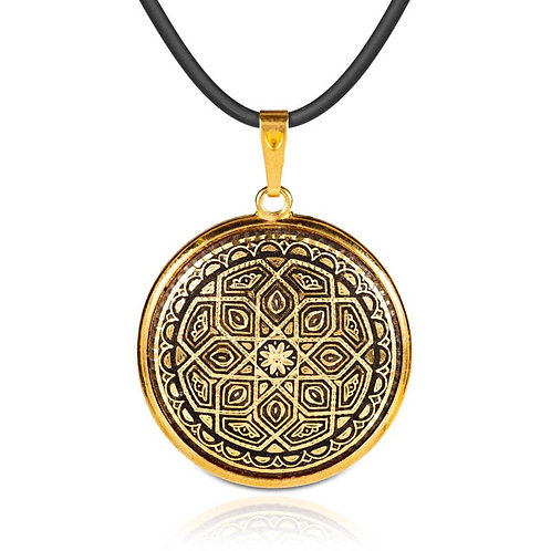 Damascene handmade pendant made with 24 kt. pure gold / m3