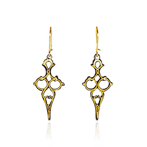 Damascene handmade earrings made with 24 kt. pure gold / s2