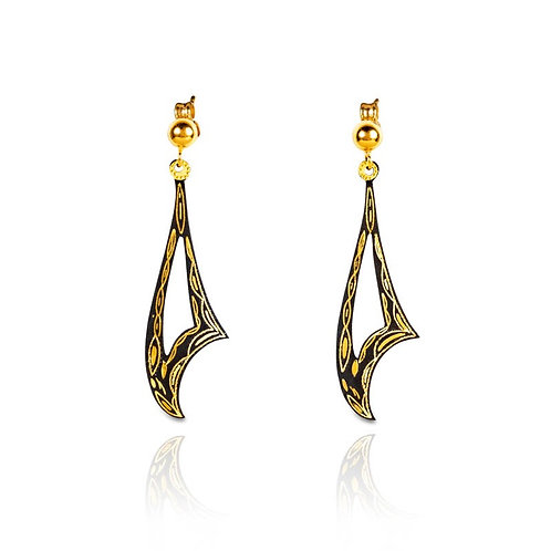 Damascene handmade earrings made with 24 kt. pure gold / s4