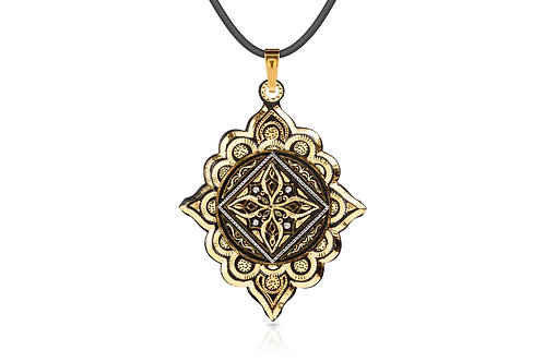 Damascene handmade pendant made with 24 kt. pure gold and silver C 4