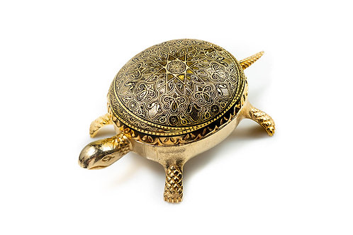 Damascene handmade decorative turtle made with 24 kt. pure gold / m1