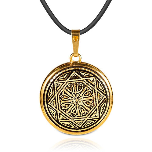 Damascene handmade pendant made with 24 kt. pure gold / m7