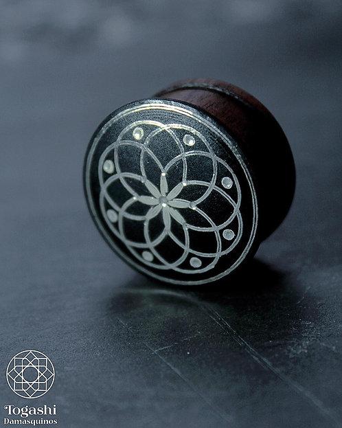 Damascene handmade plugs with silver / Eight flower