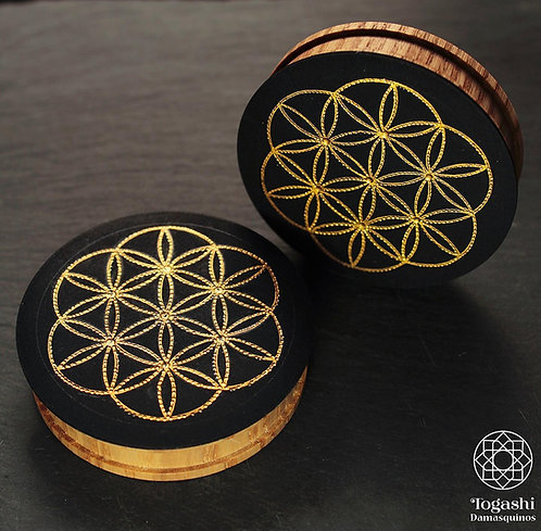Damascene handmade plugs with pure gold / Flower of life