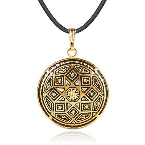 Damascene handmade pendant made with 24 kt. pure gold / m5