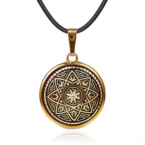Damascene handmade pendant made with 24 kt. pure gold / m20