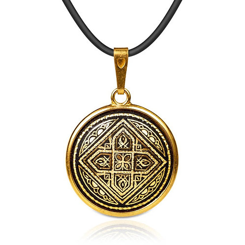 Damascene handmade pendant made with 24 kt. pure gold / m16