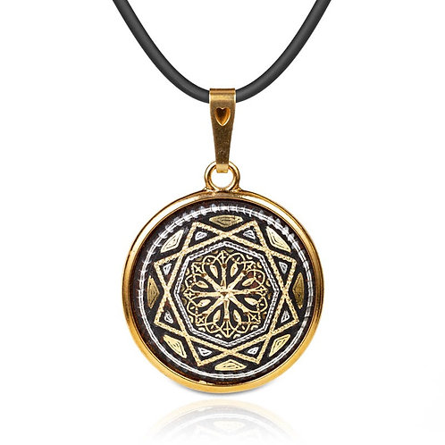 Damascene handmade pendant made with 24 kt. pure gold and silver / m19
