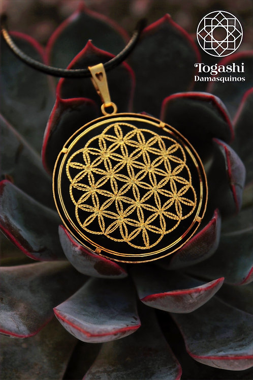Damascene handmade pendant made of 24 kt pure gold / flower of life