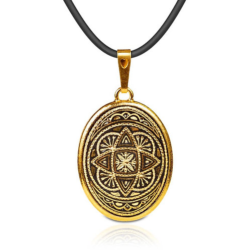 Damascene handmade pendant made with 24 kt. pure gold / m2