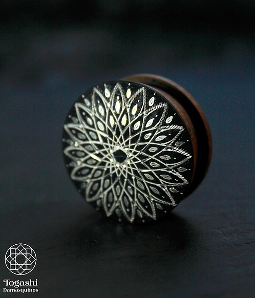 Damascene handmade plugs with silver /Infinite star