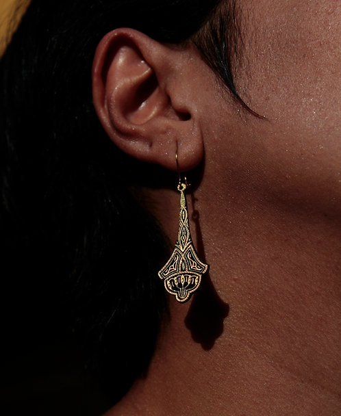 Damascene handmade earrings made with 24 kt pure gold 4