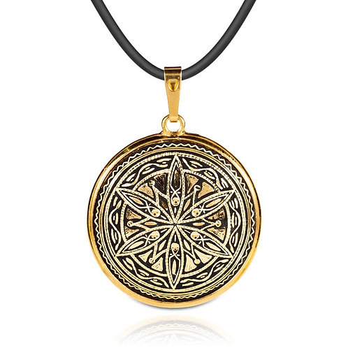 Damascene handmade pendant made with 24 kt. pure gold / m10