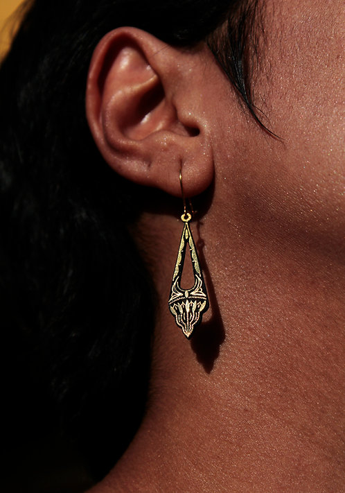 Damascene handmade earrings made with 24 kt pure gold 3