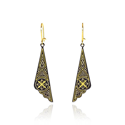 Damascene handmade earrings made with 24 kt. pure gold / s5