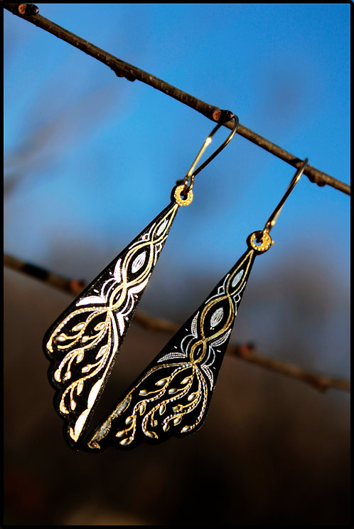 Damascene handmade earrings made with 24 kt. pure gold and silver / m4