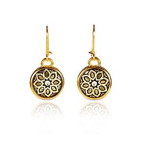Damascene handmade earrings made with 24 kt. pure gold / s7