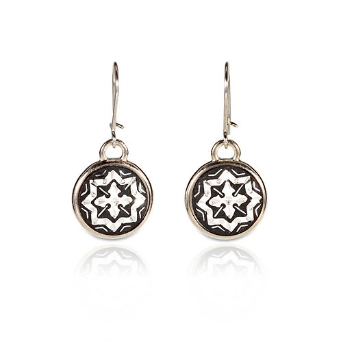 Damascene handmade earrings made with silver / s11