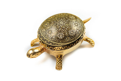 Damascene handmade decorative turtle made with 24 kt. pure gold / m3