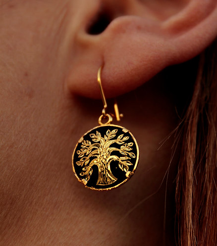 Damascene handmade earrings made with 24 kt pure gold / tree of life