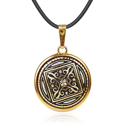 Damascene handmade pendant made with 24 kt. pure gold and silver / m18