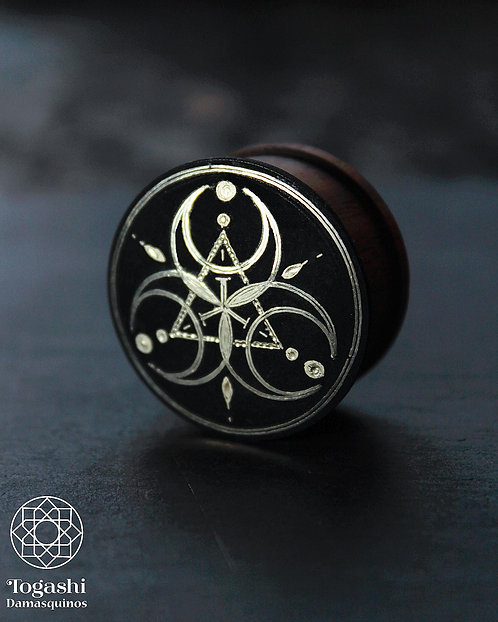 Damascene handmade plugs with silver / Three moons