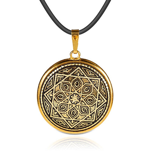 Damascene handmade pendant made with 24 kt. pure gold / m13