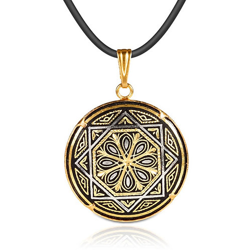 Damascene handmade pendant made with 24 kt. pure gold and silver / m6