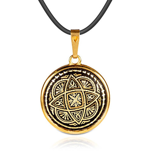 Damascene handmade pendant made with 24 kt. pure gold / m8
