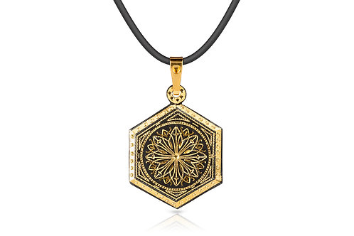 Damascene handmade pendant made with 24 kt. of pure gold C 8