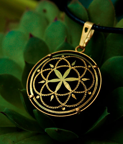 Damascene handmade pendant made with 24 kt. pure gold / Simple Flower