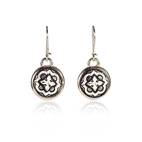 Damascene handmade earrings made with silver / s10