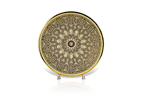 Damascene handmade decorative plate made with 24 kt. pure gold / m1