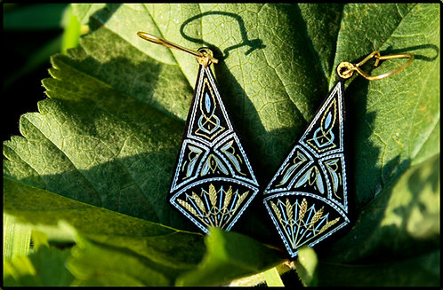 Damascene handmade earrings made with 24 kt. pure gold and silver 7