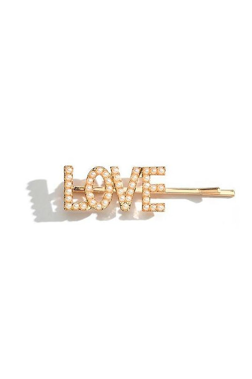 LOVE Pearl Hair Clip
