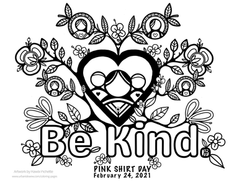 Pink Shirt Day  Be Kind 2021  *Free to use as a colouring page.
