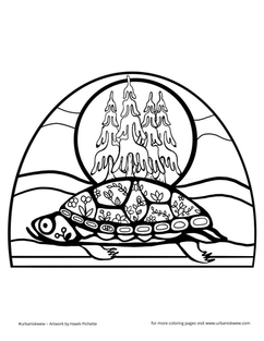 Turtle Island  Free to use as a colouring page.