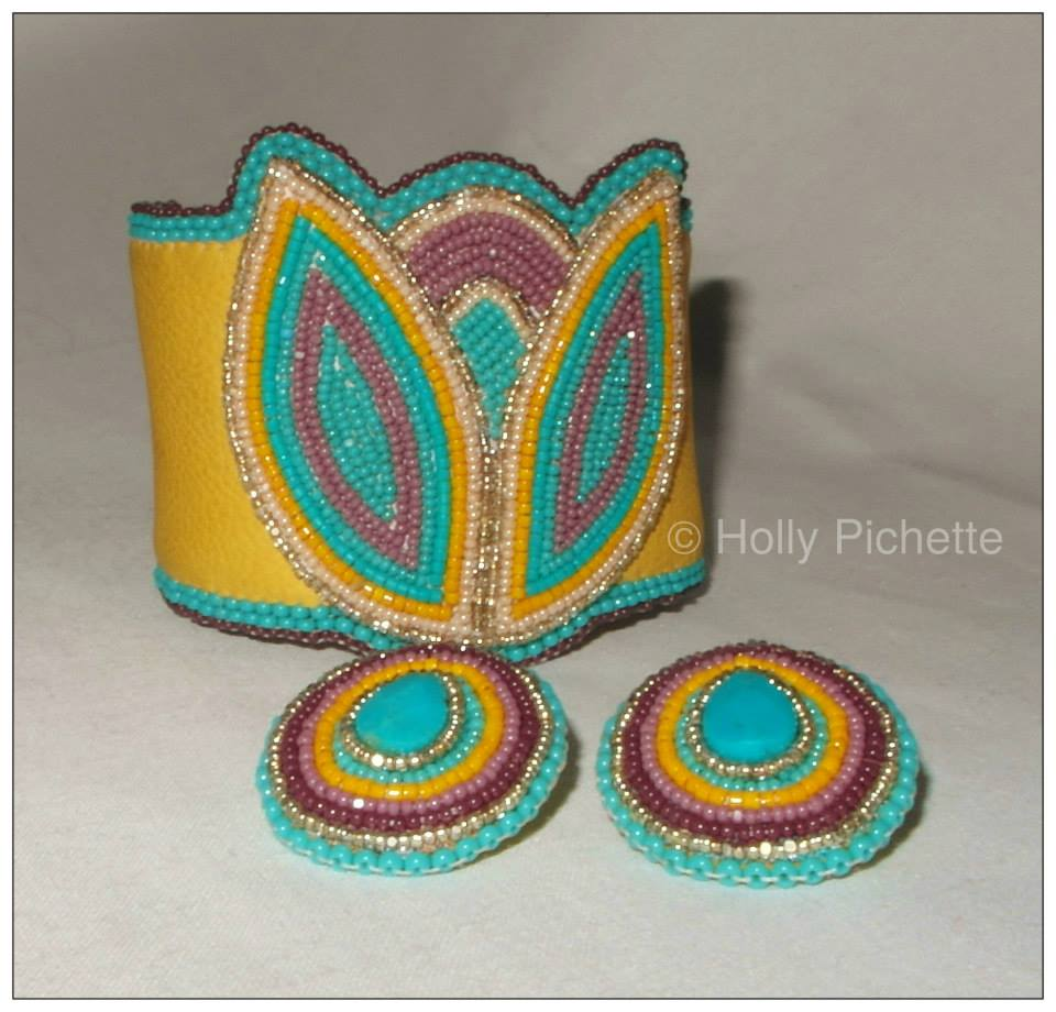 Beaded Cuff and earrings
