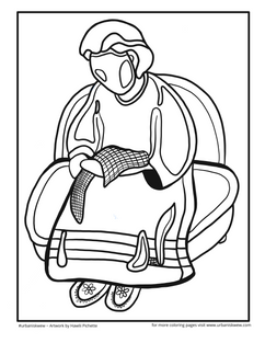 Granny Telling Stories  *Free to use as a coloring page.