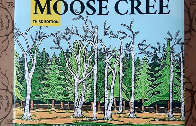 Moose Cree Dictionary  Cover Page Artwork  By Hawlii Pichette  Based off a painting on permanent display at Fanshawe College entitled 'We Are The Land' 2019
