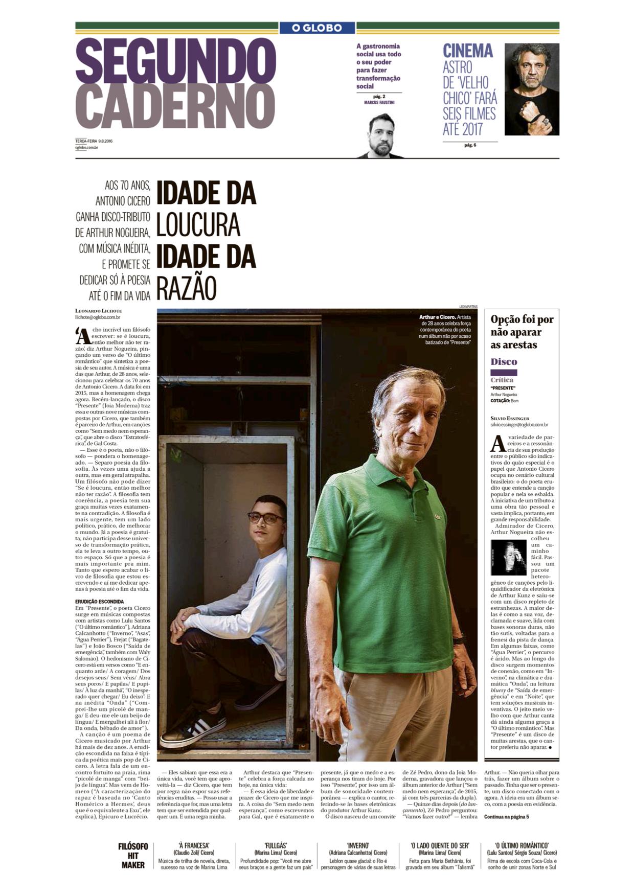 Capa de O Globo (RJ)