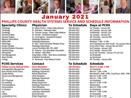 January 2021 Schedule and Contact Information