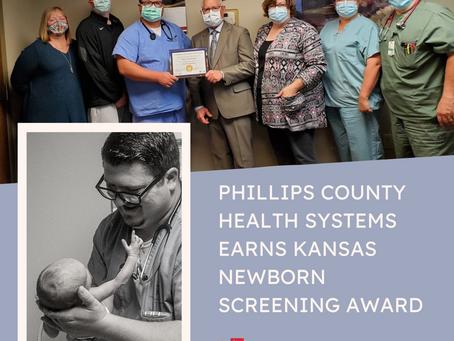 PHILLIPS COUNTY HEALTH SYSTEMS EARNS KANSAS NEWBORN SCREENING AWARD