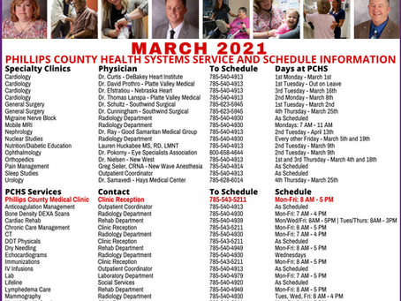 March 2021 Schedule and Contact Information