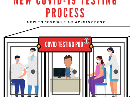 NEW COVID TESTING POD AND PROCESS