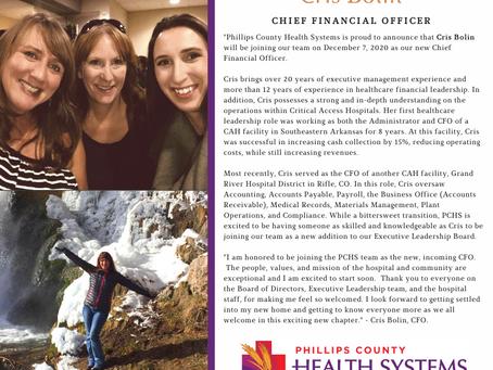 PCHS Welcomes new CFO, Cris Bolin!