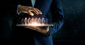 _Businessman holding tablet and manageme