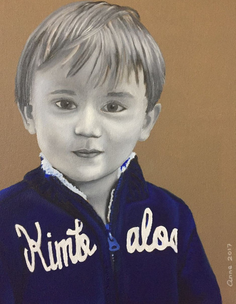 An oil painting of a young child looking at the viewer. Portrait