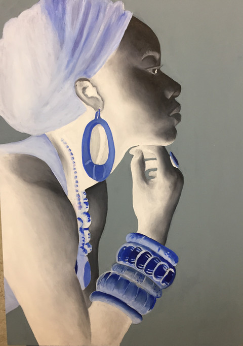 An oil painting of a portrait of an african woman in negative. Painted in black and white and blue | African Lady Negative