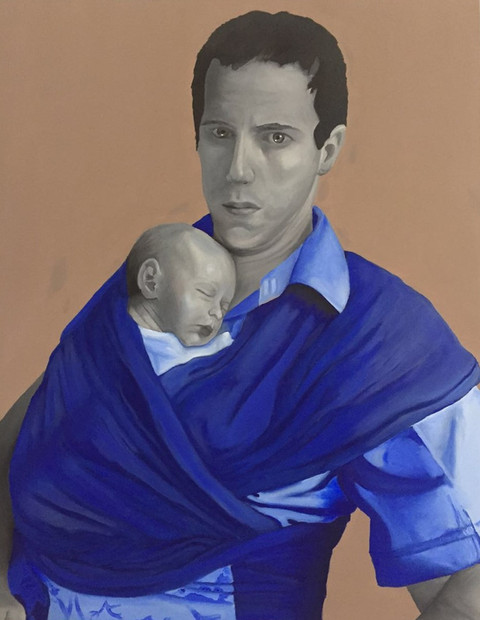 An oil painting portrait of a man holding a baby in a sling. The figures are painted in black and white and the clothes and sling are in blue. | Fatherhood